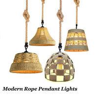 Hemp Rope Audor Vintage Retro Industrial LED Pendant Light Sconce Lamp Fitting