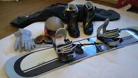 Set: Snowboard 155cm, Burton Ruler 43, Alpina Skibrille, Helm