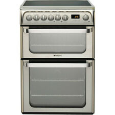 Hotpoint HUE61X  60cm Electric Double Cooker with Ceramic Hob - Inox