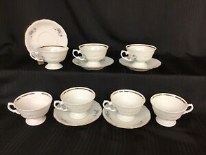 Royal Kent Poland China Violets 5 Cup And Saucer Sets - 2 Extra Cups