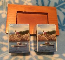 New Cape Shore Ceramic Salt Pepper Shaker Set Cozy Harbor Jack Williams w/ Tray