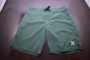 Hurley Phantom Board Shorts Green Stretch Athletic Water Swim Mens Size 33