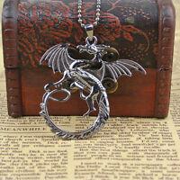 Neu Silber Targaryen Feuerdrache Halskette Drache Anhänger Dragon