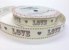 "3 M Bertie'S FIOCCHI GRIGIO ""Love"" Vintage font su 16 mm Avorio GROS Grain Nastro Matrimonio"