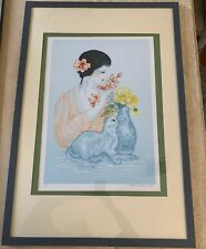 "MARA TRANLONG /""FLUTE PLAYER/"" 1975 Hand Signed Limited Edition Lithograph Art"