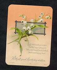 c1910 Birthday Card: Embossed Snow Drop Flowers: Happy Morning Greet