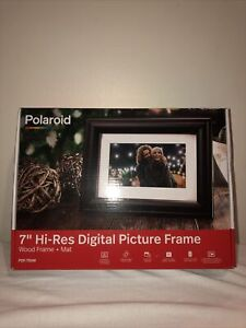 "Polaroid 7"" Digital Picture Frame Wood Frame Mat, PDF-750W Clock And Calendar!"