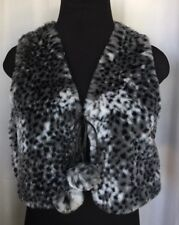 Animal Prints Short Faux Fur Vest Black and Gray