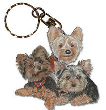 Yorkie Wooden Dog Breed Keychain Key Ring