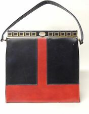 Vintage Naturalizer Black & Red Handbag with Gold tone Trim. Purse.