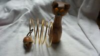 VINTAGE JAPAN WOOD CAT FIGURE And MOUSE DESK LETTER PAPER HOLDER