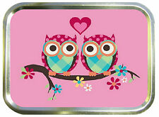 PINK LOVE OWLS  2oz GOLD TOBACCO TIN,BAIT TIN,SEWING TIN,BACCY TIN