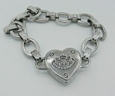 "Juicy Couture Silver Link Bracelet Heart Clasp 7"" B50"