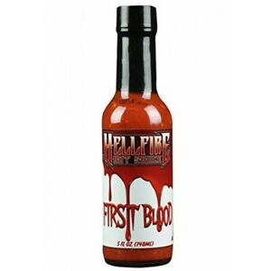 HELLFIRE FIRST BLOOD HOT SAUCE Naga, Scorpion Peppers, Red 7 pod and  Habanero