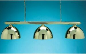 ❤ Bar/Pub Pool/Snooker Table Hanging Light With 3 Shades in Brass Finish VGC👌