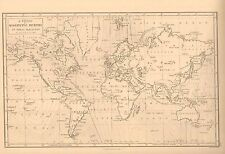 1850 ANTIQUE MAP- A CHART OF MAGNETIC CURVES OF EQUAL VARIATION, PETER BARLOW