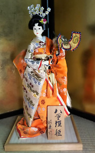 "Vintage Japanese Geisha doll in Kimono 19.5"" on wooden base Antique Orange"