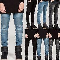 Mens Jeans Skinny Slim Ripped Biker Denim Frayed Fashion Pants Stretchy Trousers