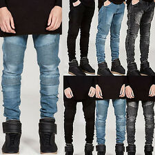Mens Denim Jeans Pants Slim Fit Straight Leg Ripped Destroyed Skinny Trousers