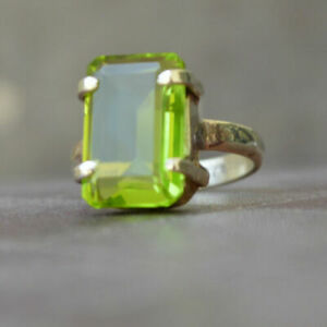 Rich Green Cushion Peridot Quartz Silver Yellow Gold Prong Set Ring