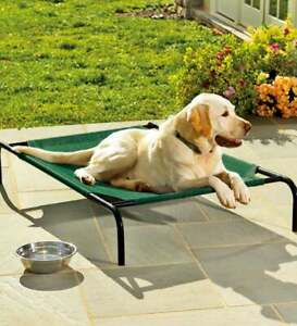 Plow & Hearth - Weather-Resistant Replacement Cover for Raised Pet Bed, Green