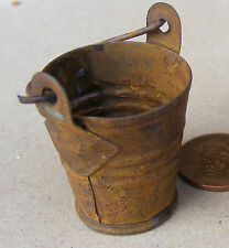 1:12 Scale Large Rusty Bucket Dolls House Miniature Outdoor Garden Accessory