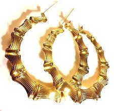 """Z22 HUGE 9cm 90mm 3.5 """" gold bamboo hoop earrings 18k gold pltd Plum UK BOXED"""