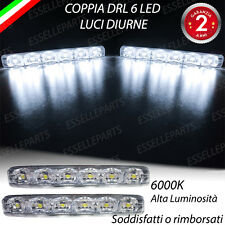 LUCI DIURNE DRL 6 LED UNIVERSALI COLORE BIANCO DAYLIGHT PER AUTO MOTO 12V