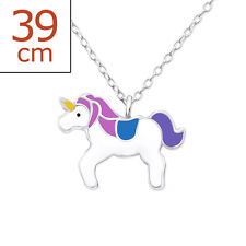 Blue Unicorn Necklace Perfect Gift 925 Sterling Silver Magical Purple &