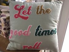 Cath Kidston Mint Green 'Let The Good Times Roll ' Embroidered Cushion - BN