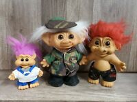 """Vintage Lot of 3 Troll Dolls 8""""7""""and 5"""" Russ Uneeda"""