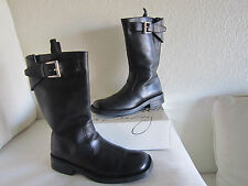 PRADA MEN'S BIKER BUCKLE TOP BLACK LEATHER BOOTS ITALY SIZE 61/2