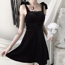 Women Sexy Gothic Black Velvet Spaghetti Strap Bowtie Punk Flared Short Dress