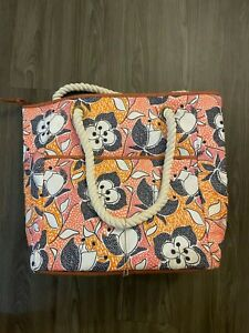 Large Floral Print Insulated Cooler Bag with Rope Handles