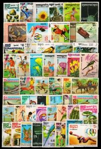 Kampuchea 50 Different Stamps, Large, Genuine Postage Stamps