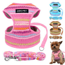 Reflective Mesh Breathable Mesh Vest Harness with Leash Set for Chihuahua Teddy