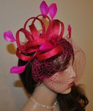 FUCSIA Acconciatura Fascinator PETTINE VELO accessorio per capelli rete FIORE