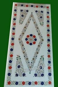 24 x 48 Inches Gemstones Inlay Work Coffee Table Top White Marble Patio Table
