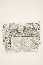 Gravure XVII° Armoiries Blasons Mr de TURMENYES et Madame sa Femme NOLIN
