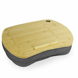 Bamboo Cushioned Laptop Tray Portable Book & Tablet Desk Anti-Slip Strip M&W