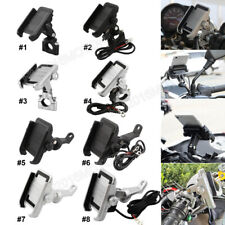 New Aluminum Motorcycle Handlebar Mirror GPS Cell Phone Holder Mount USB Charger