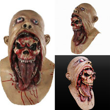 Zombie Mask Melting Face Latex Costume Dead Halloween Scary Head Masks Bloody