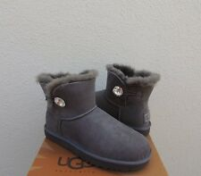 UGG GRAY MINI BAILEY BLING SUEDE/ SHEEPSKIN BOOTS, WOMENS US 5/ EUR 36 ~NIB
