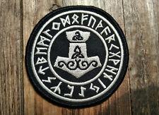 Mjölnir Aufnäher / Patch - Wikinger Runen Valhalla Vikings Runes Thorshammer