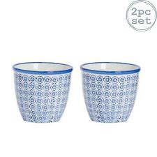 Flower Plant Pot Ceramic Porcelain Indoor Outdoor Garden - Blue Flower - x2
