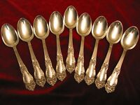 TIGER LILY FESTIVITY Silverplate Teaspoon Set Reed & Barton Flatware Lot of 9