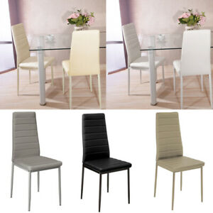 2/4/6X High Back Chair Ribbed Scalloped Seater Padded Soft Dining Chairs Kitchen