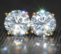 4Ct Round Gorgeous Cut Moissanite Solitaire Stud Earrings 14K Yellow Gold Finish