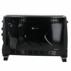 2KW Convector Heater With Turbo Fan Thermostat Control + 24 Hour Timer Black