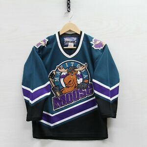Vintage Manitoba Moose Bauer Jersey Youth Size L/XL 90s AHL Stitched Made Canada